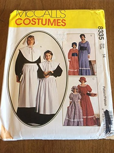 McCall's 8335 Sewing Pattern, Misses' and Girls' Pilgrim & Pioneer Costumes, Size (Pilgrim Costume Pattern)