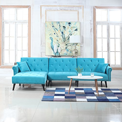 Divano Roma Furniture Mid Century Modern Style Velvet Sleeper Futon Sofa, Living Room L Shape Sectional Couch with Reclining Backrest and Chaise Lounge (Blue)