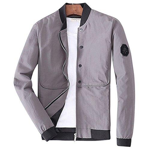 Collare Grigio Lunghe Giacca Cappotto Casual Maniche Uomo Jacket EwOq1a0x