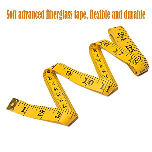 AXEN 3 Pack Soft Measuring Tape Body Tape Measure, Double Scale body sewing Flexible Ruler (300cm/120in) for Sewing Tailor Cloth, Weight Loss Medical Body Measurement, Yellow