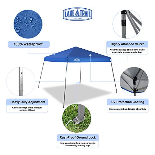 LAKE TRAIL 12 x12 Slant Leg UV Block Sun Shade Canopy with Hardware Kits, Shade for Patio Outdoor Garden Events, Blue