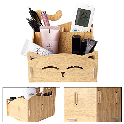 DIY Wooden Assemble Cute Cat Pen Pencil Holder .Cosmetic Holder Desk Organizer for Home, Office (Oak)