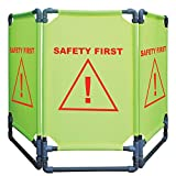 Vestil Green / Yellow Fabric Folding Warning Barrier With Red Imprint ''Safety First'' - 69''L x 1''W x 38''H