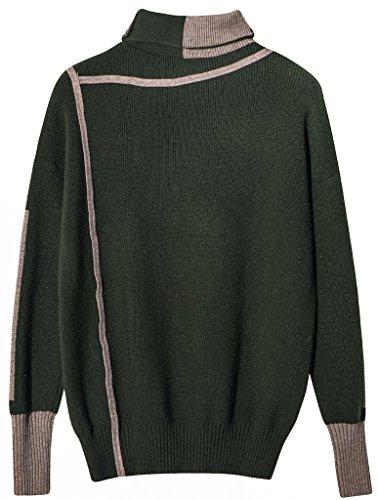 3335eb4df57b24 vogueearth Damen s Lang Hülse TurtleHals Knit Thick Basic Sweater  Sweatshirt Pullover Dunkel Grün 3ssqS6eOL
