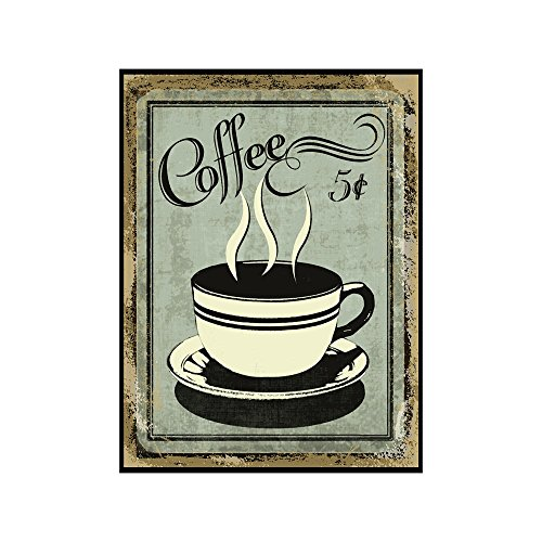 Vintage Wall Decor w/ Coffee Design, Retro 12 x 9 'Coffee for 5 Cents' Metal Sign, Vintage Tin Signs for Coffee Lovers, Unique Coffee Sign for Mom, Sister, Friend or Coworker, Quirky Tin Home Decor (Decor Sign Metal)
