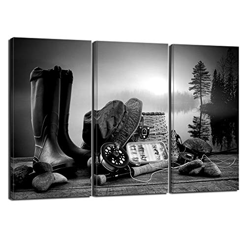 Nachic Wall - Black and White Canvas Wall Art American West Cowboy Boots and Fishing Tools in Sunrise by Lake Landscape Picture Print Modern Western Living Room Farmhouse Decor Ready to Hang