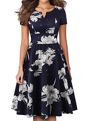 YATHON Women's Dresses, Vintage 1950s Hepburn Style White Blue Floral Short Sleeve Ball Gown Homecoming Tea Dress for Work Party Wedding Guest (XL, YT028-Navy Floral 03) - Just Too Cute Tea