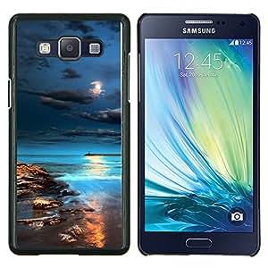 TECHCASE---Cubierta de la caja de protección para la piel dura ** Samsung Galaxy A5 ( A5000 ) 2014 Version ** --Luna Lighthouse Beach