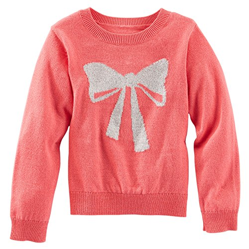 Price comparison product image Oshkosh Girl's Ski Lodge Pullover Bow Sweater; Coral,  12 Months