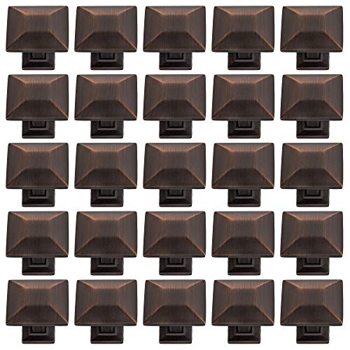 25 Pack Modern Pyramid Square Kitchen Cabinet Hardware Knob 1 1/4 Inch, Oil Rubbed Bronze