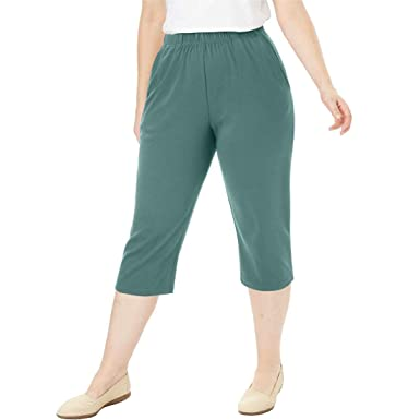 9df787fa510 Woman Within Plus Size Petite 7-Day Knit Capri at Amazon Women s ...