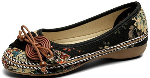 SATUKI Handmade Embroidered Canvas Shoes For Women, Slip-On Casual Loafer Flat Floral Shoes Black