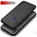 Mobistyle Soft Fabric & Leather Hybrid Protective Back Case Cover for Samsung M40 (Black)