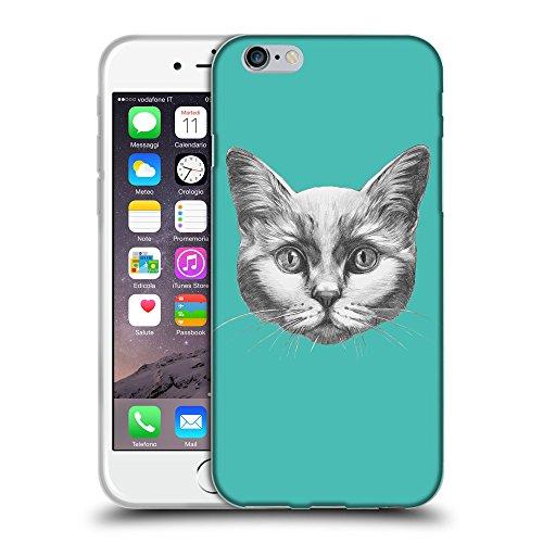 "GoGoMobile Coque de Protection TPU Silicone Case pour // Q05110634 Dessin chat Turquoise // Apple iPhone 6 PLUS 5.5"""