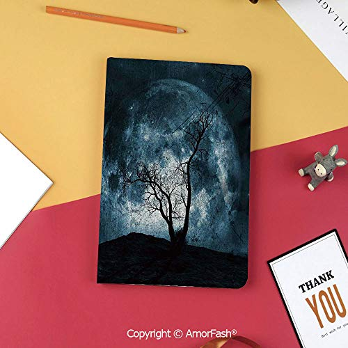 Printed Slim Magnetic Folding PU Flip Cover for Samsung Galaxy Tab S3 9.7,Fantasy,Night Moon Sky with Tree Silhouette Gothic Halloween Colors Scary Artsy Background,Slate Blue ()