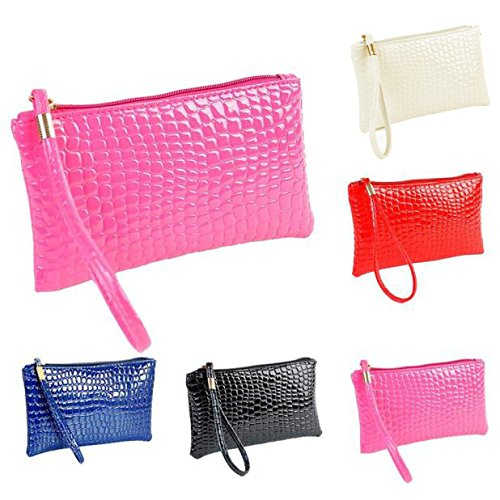 Limsea Clutch Leather Coin Handbag Bag Women Crocodile Bag Purse Black rnqwxr1I