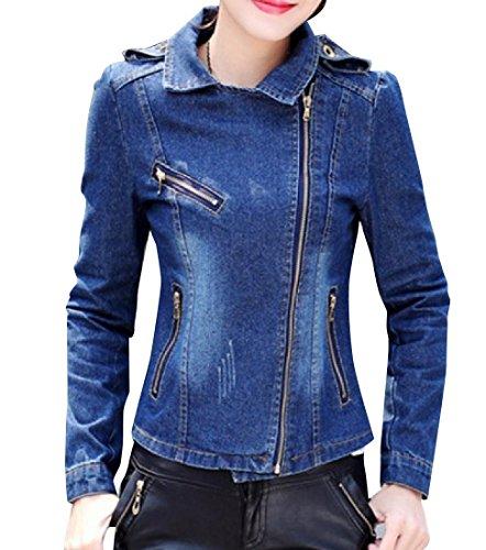 CuteRose Womens Faded Original Fit Denim Jacket with