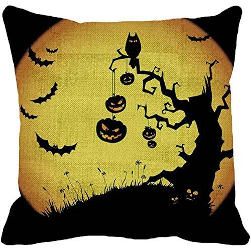 Napoo Happy Halloween Pillow Cases, 2018 Spider Moon Bat Pumpkin Square Throw Linen Pillow Case Cushion Cover Burlap Home Sofa Decor (B)