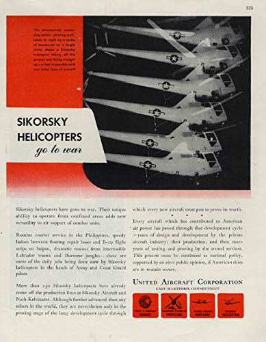 Sikorsky Helicopters go to war United Aircraft ad 1945 F ()