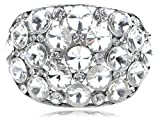 Alilang Womens Silvery Tone Clear Crystal Colored Rhinestones Chunky Statement Bangle Bracelet