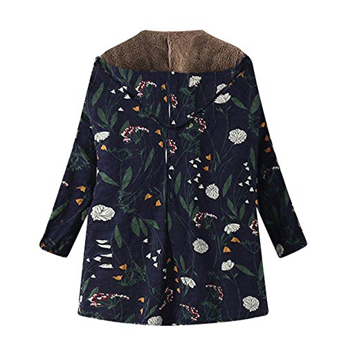 Warm Pockets Zipper Coats Trench Winter Plus Size Classic Overcoat Navy Hooded Floral Thicker Womens Vintage Outwear vpass Oversize Print 7BwAtZ7xq