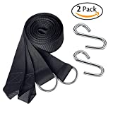 Set of 2 Hammock Straps Hanging Tree Straps - Camping Accessories Supplies Include 2 Ultralight Suspension Straps + 2 Heavy-duty S Hooks by Attmu