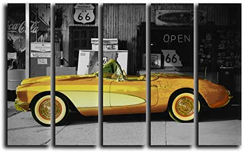 Large Set Vintage Car Wall Art Decor Picture Painting Poster Print on 5 Canvas Panels Pieces - Gold Chevrolet Corvette Theme Wall Decoration Set - Wall Picture for Cafe, Showroom 35 by 55 in