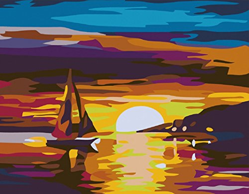 CaptainCrafts New Paint by Number Kits - Sunset Boat 16x20 inch Frameless - Diy Painting by Numbers for Adults Beginner Kids
