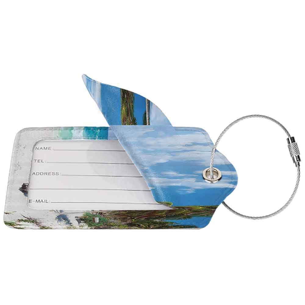 Waterproof luggage tag Coastal Decor Collection Panoramic Colorful Photography of Mexico Atlantic Beach Getaway Seascape Print Soft to the touch Beige Blue Green W2.7 x L4.6