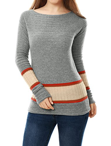 - Cashmerelina Women Boat Neck Jersey Contrast Rib Knit Cashmere Sweater L Orange