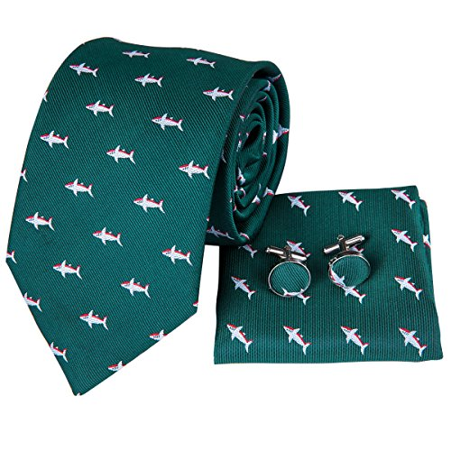 Hi-Tie Dark Green Dolphin Pattern Tie Necktie with Cufflinks and Pocket Square Tie Set