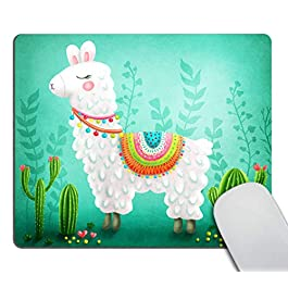 Smooffly Cute Llama Cactus Mouse Pads Desk Accessories Non-Slip Rubber Customized Computer Mouse Pad 9.5 X 7.9 Inch…