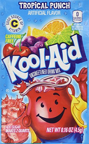 Kool-Aid Tropical Punch Unsweetened Soft Drink Mix, 0.16-Ounce Envelopes (Pack of 48) by Kool-Aid