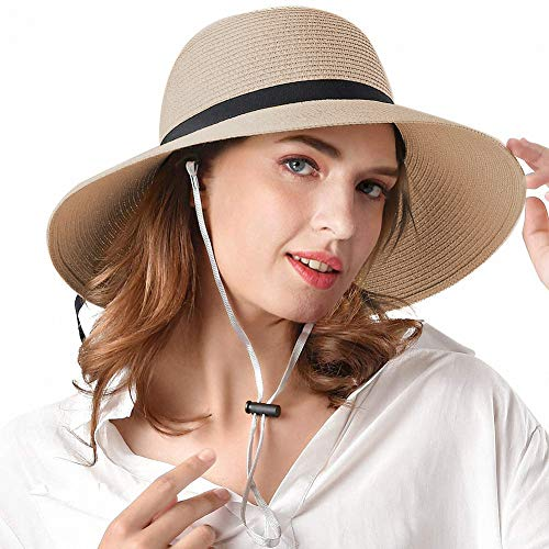 Packable Straw Hats for Women with Chin Strap, Adjustable Size for Large Head and Small Head