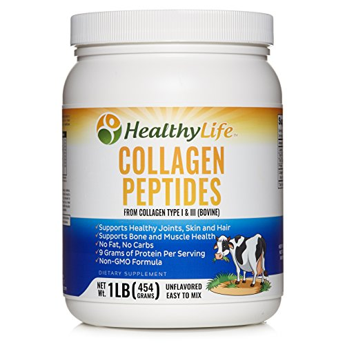 Collagen Powder | Unflavored Hydrolyzed Collagen Peptides Complex | Easy to Mix with 9 Grams of Protein Per Serving | Supports Bone and Muscle Health | 45 Servings Per 1 Lb Container