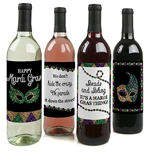 (Mardi Gras - Masquerade Party Wine Bottle Labels - Set of)
