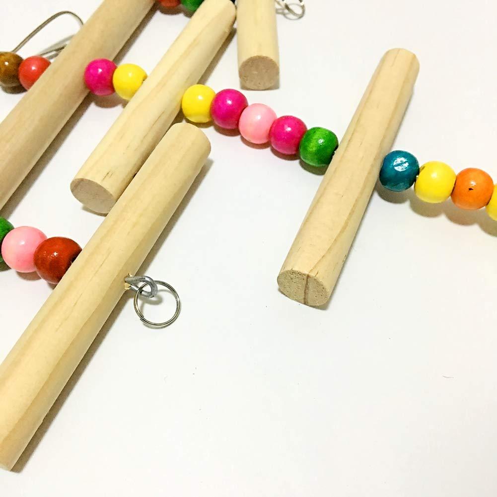 SimpleMfD Cadena de Perlas y Troncos de Juguete de Loro peque/ño y Mediano Accesorios para jaulas de p/ájaros Columpio de Escalada