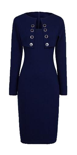 HOMEYEE Women's Sexy Fashion Long Sleeve Wear to Work Bodycon Dress B10