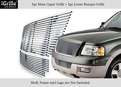 (APS Compatible with 2003-2006 Ford Expedition Stainless Steel Silver 8X6 Horizontal Billet Grille Insert Combo N19-C39978F)