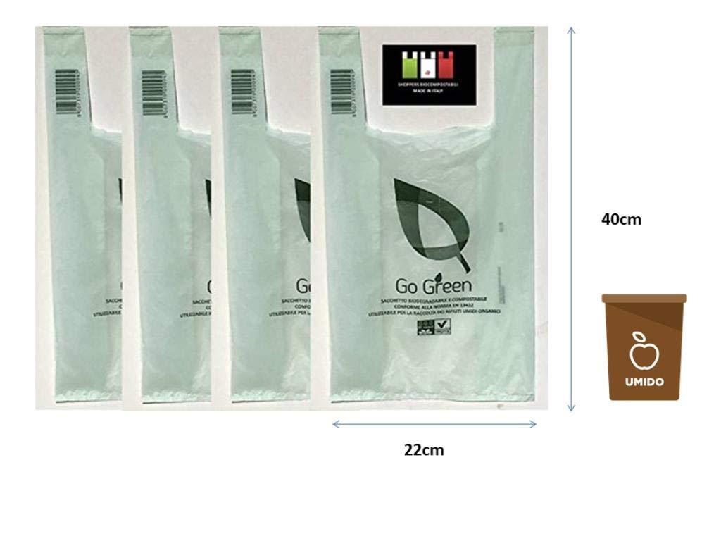 100 buste VERDI sacchetti biodegradabili compostabili 22+12x40 per negozi alimentari, usi domestici a strappo e asola per appenderli ideali anche per