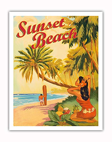 Pacifica Island Art - Sunset Beach Hawaii - Oahu North Shore - Surfer - Vintage Hawaiian Travel Poster Rick Sharp - Fine Art Print - 11in x 14in