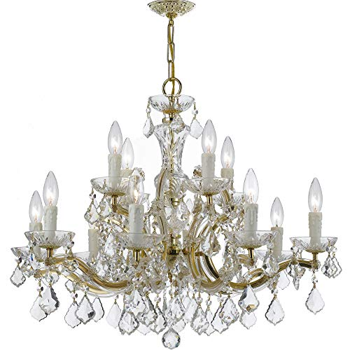 Crystorama 4379-GD-CL-MWP Crystal 12 Light Chandelier from Maria Theresa collection in Gold, Champ, Gld Leaffinish, -