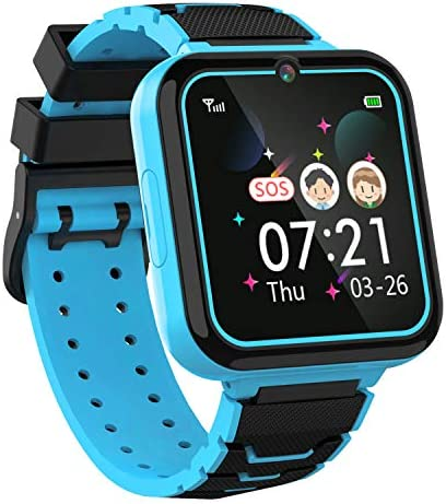 Boys Girls Kids Music Game Smart Watch , HD Touch Screen Wrist Smartwatch , Alarm Calculator MP3 Music Player Games Call SOS Camera Flashlight Smart Watch , Children Toy Birthday Gift(Blue)