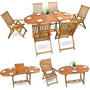 7piezas muebles de madera essgarnitur Asiento Grupo Muebles de Jardín Conjunto de asiento madera de acacia barnizada–6x ajustable silla plegable 1x extraíble plegable
