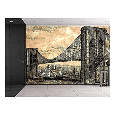 Premium Creation, Magnificent Visual, Engraved Illustration Brooklyn Bridge 1883 Suspension Bridge with Sailed Ships Navigating Below Wall Mural