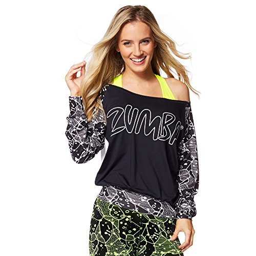 Zumba Womens Be Bold Boatneck Pullover, Back to black, Small