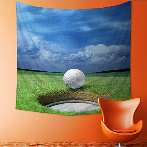 UHOO2018 Square Tapestry Golf Ball on Lip of Cup of Lovely Beautiful Golf Course Throw, Bed, Tapestry, or Yoga Blanket 39W x 39L Inch -