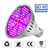 Lovebay 80W LED Grow Light Bulb, Full Spectrum Grow lamp for Seeds Bonsai Indoor Plants, Plant Light for Indoor Garden Greenhouse and Hydroponic Plants Organic Soil, 120 Beads