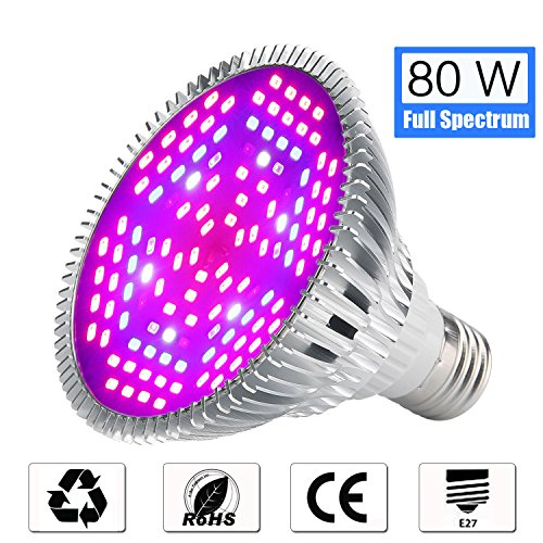 Lovebay 80W LED Grow Light Bulb, Full Spectrum Grow lamp for Seeds Bonsai Indoor Plants, Plant Light for Indoor Garden Greenhouse and Hydroponic Plants Organic Soil, 120 Beads by Lovebay