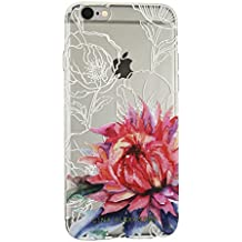 Gina Alexander iPhone 6 Plus Transparent Case (Watercolor and White Line Flowers)
